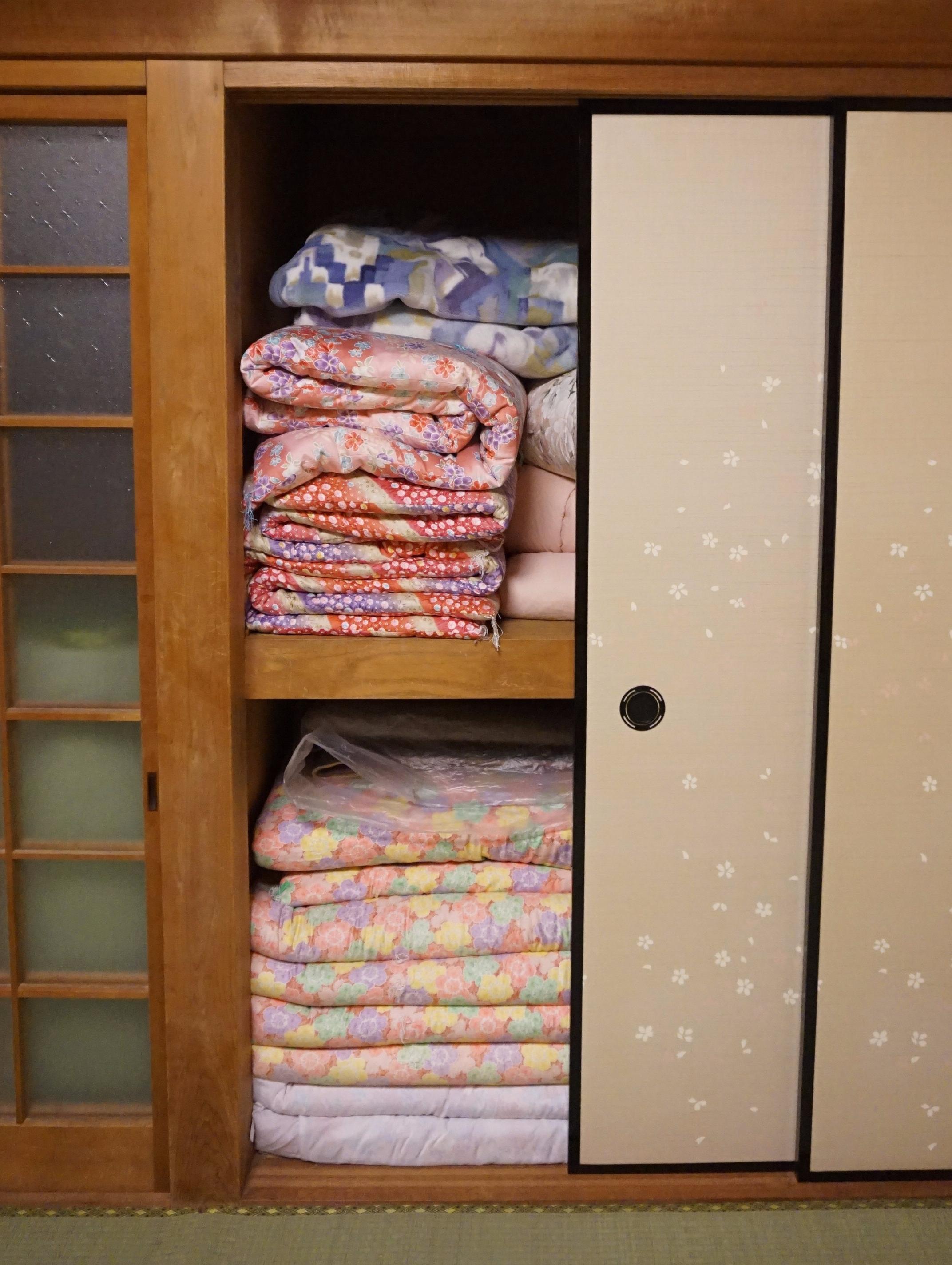 Japanese futon in the closet