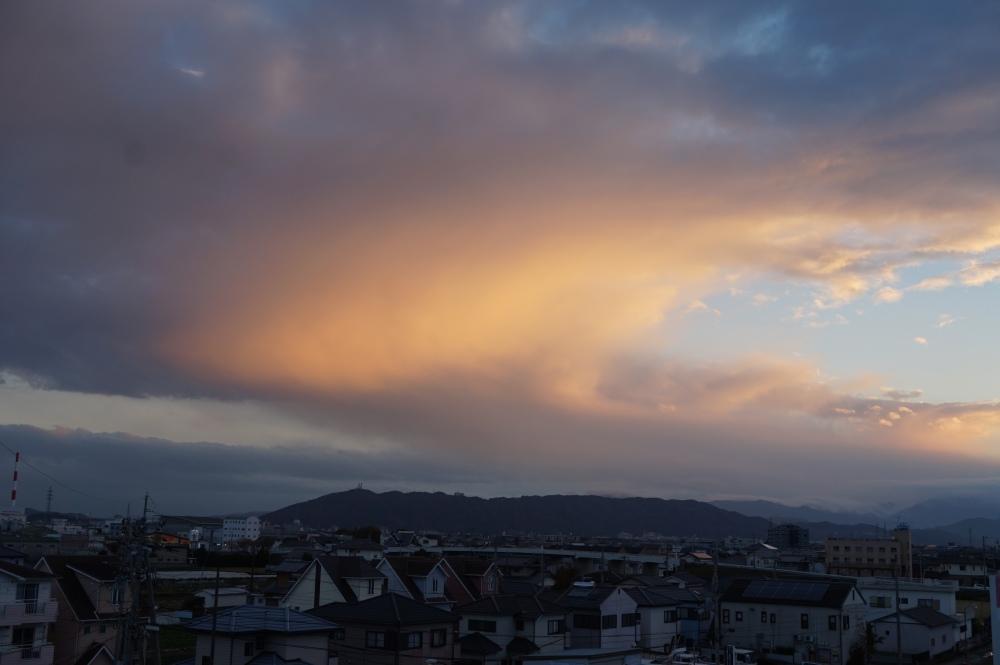 Sunset over Mt Bizan, Tokushima