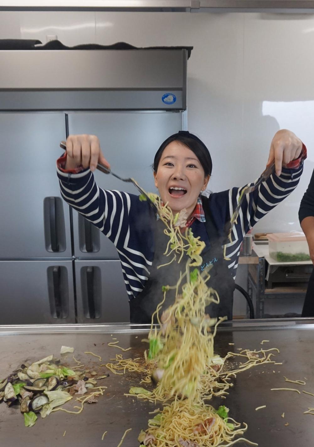 Making Yakisoba, Okonomiyaki Restaurant