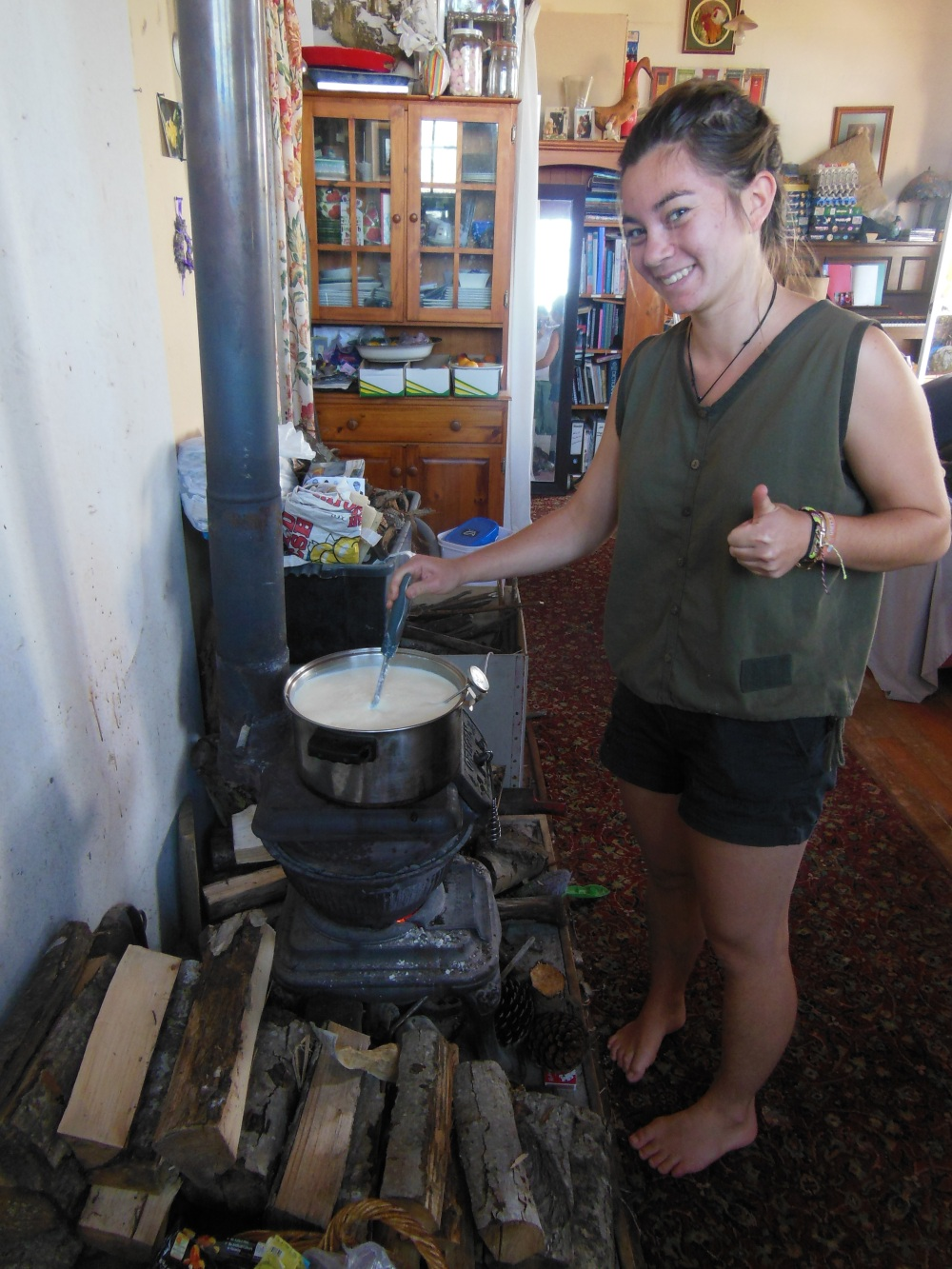 Making Cheese on a woodstove